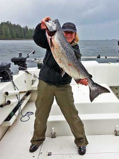 JoAnn Andrew with a nice silver fising with Oasis Alaska Charters
