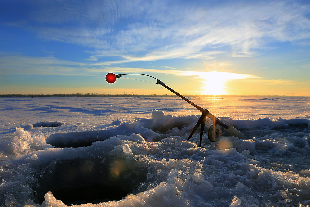 fishing gear on the river ice